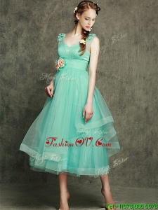 See Through Straps Prom Dresses with Appliques and Hand Made Flowers
