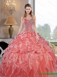 New Style Sweetheart Ruffles and Beading Quinceanera Dresses for 2015