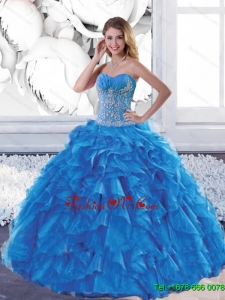 New Style Sweetheart Teal Sweet 16 Dresses with Appliques and Ruffles