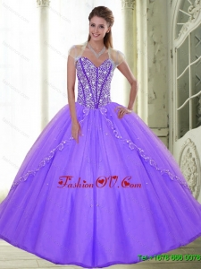 The New Style Sweetheart 2015 Lilac Quinceanera Dresses with Beading