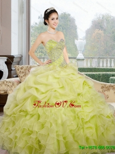 2015 Lovely Sweetheart Yellow Green Quinceanera Dresses with Ruffles and Pick Ups