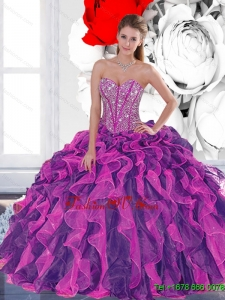 2015 Pretty Beading and Ruffled Layers Quinceanera Dresses in Multi Color