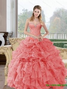 2015 Pretty Beading and Ruffles Quinceanera Dresses in Watermelon