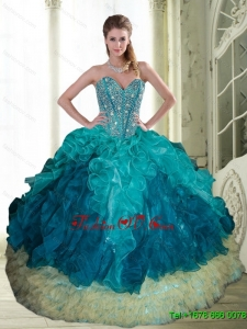 2015 Pretty Beading and Ruffles Sweetheart Quinceanera Dresses in Multi Color