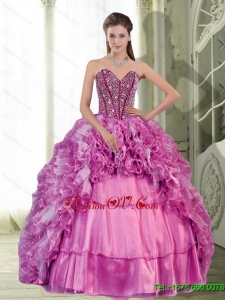 2015 Pretty Sweetheart Beading and Ruffles Dress for Quinceanera