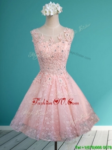 2016 Best Scoop Beading and Appliques Short Prom Dresses in Baby Pink