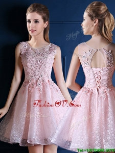 2016 Exquisite Baby Pink Scoop Prom Dresses with Appliques and Beading