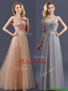 2016 New Arrivals Empire Floor Length Prom Dresses with Appliques