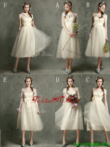 Affordable New Arrivals Tea Length Tulle Bridesmaid Dresses in Champagne