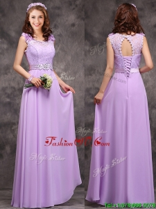 Beautiful Empire Scoop Laced Decorated Bodice Prom Dresses in Lavender