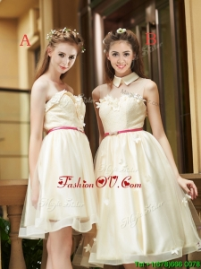 Best Selling Champagne Organza Prom Dresses with Appliques and Sashes