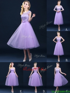 Exclusive A Line Tulle Lavender Prom Dresses in Tea Length