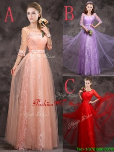Exclusive See Through Scoop Applique and Laced Prom Dresses with Half Sleeves