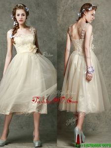 Gorgeous Straps Champagne Bridesmaid Dress with Appliques and Hand Made Flowers