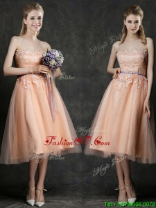 Hot Sale Strapless Peach Bridesmaid Dress with Sashes and Lace