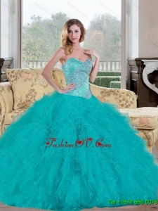 Lovely 2015 Ball Gown Quinceanera Dress with Beading and Ruffles