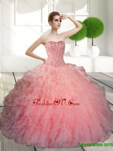 Lovely Ball Gown Beading and Ruffles Quinceanera Dresses for 2015