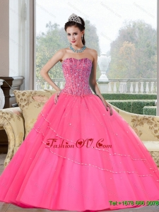 Lovely Beading Strapless Quinceanera Dresses for 2015