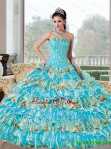 Lovely Beading and Ruffled Layers Sweetheart Quinceanera Dresses for 2015