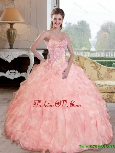 Lovely Beading and Ruffles Sweetheart Quinceanera Dresses for 2015