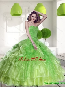 Lovely Spring Green 2015 Quinceanera Dress with Beading and Ruffles