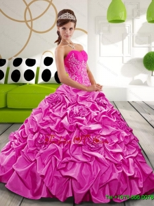 Lovely Sweetheart 2015 Hot Pink Quinceanera Gown with Appliques and Pick Ups