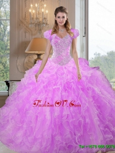 Lovely Sweetheart Beading and Ruffles Lilac Sweet 16 Dresses for 2015