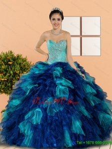 Lovely Sweetheart Beading and Ruffles Quinceanera Dresses in Multi Color