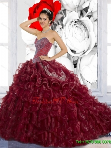 Lovely Sweetheart Ruffles and Appliques Quinceanera Dresses for 2015