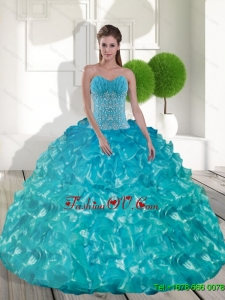 Lovely Sweetheart Teal Sweet 15 Dresses with Appliques and Ruffled Layers