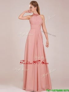 Low Price Halter Top Peach Long Prom Dresses in Chiffon