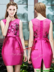 Luxurious Column Scoop Applique Hot Pink Prom Dresses in Satin