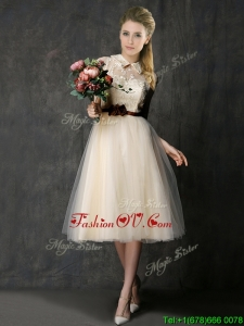 Luxurious High Neck Champagne Prom Dresses with Hand Made Flowers and Lace