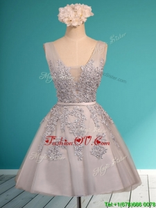 Modest Deep V Neckline Grey Prom Dresses with Appliques and Belt