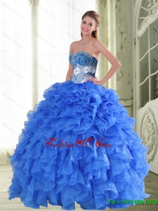 Pretty Beading and Ruffles Sweetheart Blue Quinceanera Gown for 2015 Spring
