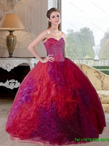 Pretty Multi Color 2015 Quinceanera Gown with Beading and Ruffles