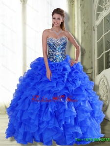Pretty Strapless 2015 Quinceanera Dresses with Beading and Ruffles