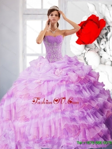 Pretty Strapless Appliques and Ruffles 2015 Quinceanera Dress in Lilac