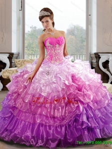 Pretty Sweetheart 2015 Quinceanera Dress with Appliques and Ruffled Layers