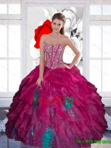 Pretty Sweetheart Beading Multi Color 2015 Quinceanera Dress with Ruffles