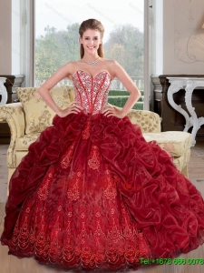 Pretty Sweetheart Beading and Pick Ups 2015 Quinceanera Dresses in Wine Red