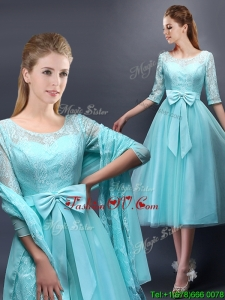 Romantic Aqua Blue Scoop Half Sleeves Prom Dresses with Bowknot