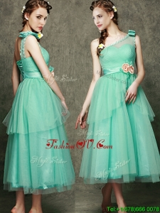 See Through One Shoulder Bridesmaid Dreses with Bowknot and Hand Made Flowers