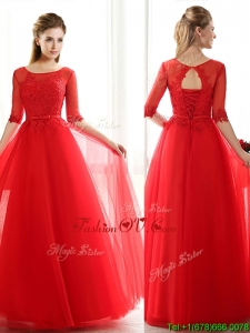See Through Scoop Half Sleeves Red Bridesmaid Dress with Lace and Belt