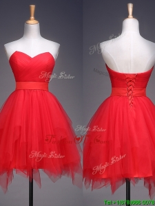 Wonderful Ruffled and Belted Short Prom Dresses in Red
