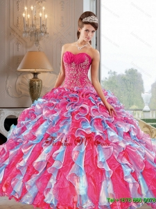 2015 Designer Ball Gown Quinceanera Dress with Appliques and Ruffles