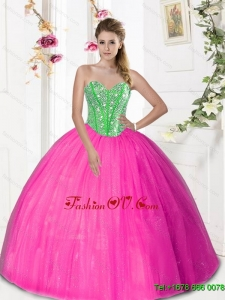 2015 Discount Sweetheart Sweet Sixteen Dresses with Beading and Pick Ups