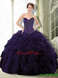 2015 New Style Dark Purple Quinceanera Dresses with Beading and Ruffle