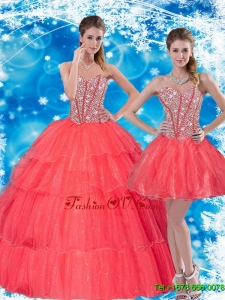 2015 Gorgeous Beading and Ruffled Layers Sweetheart Sweet Sixteen Dresses in Coral Red