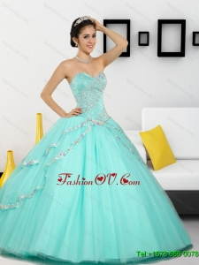 2015 Pretty Beading Sweetheart Quinceanera Dresses in Apple Green